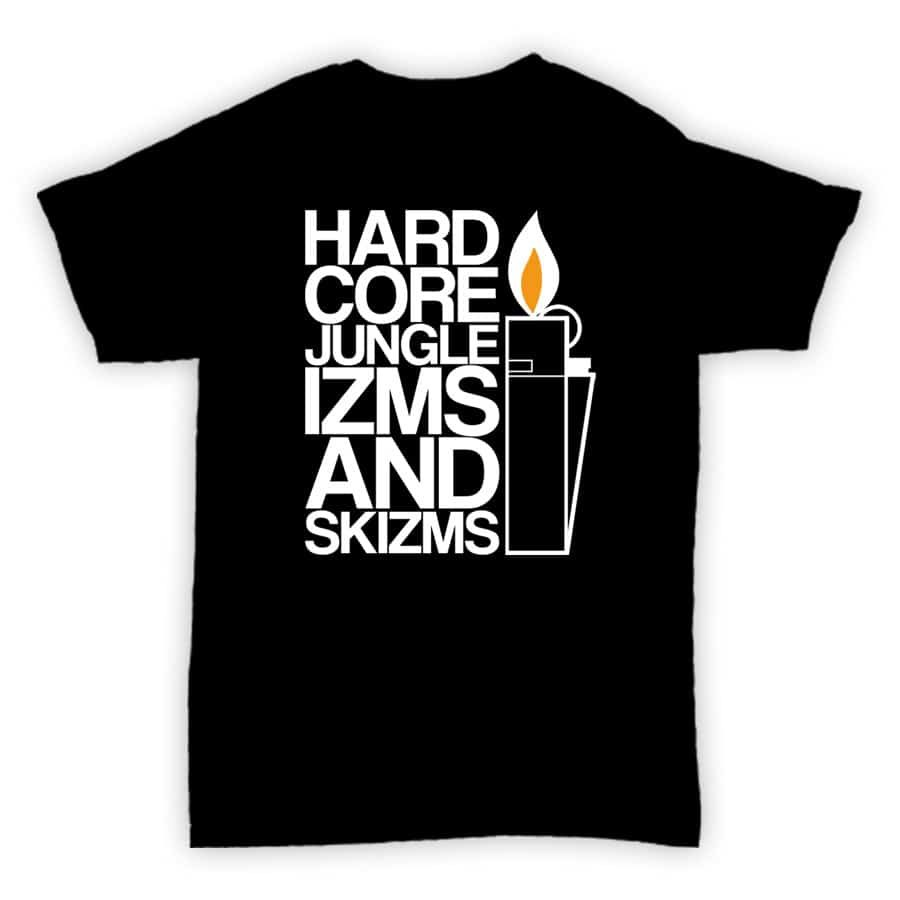 Exclusive T Shirt - Hardcore Jungle Izms and Skizms - Black With White Print