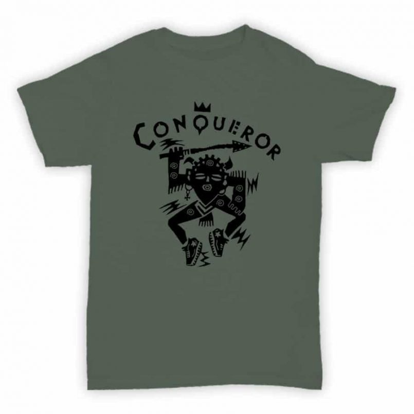 Record Label T Shirt - Conqueror Records - Heather Green With Black Logo