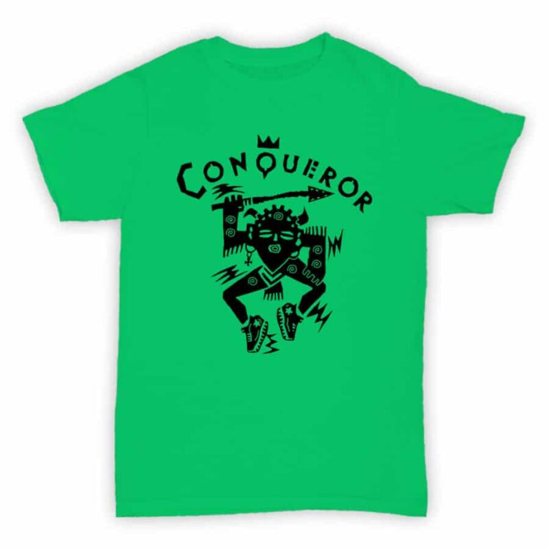 Record Label T Shirt - Conqueror Records - Jade Green With Black Logo