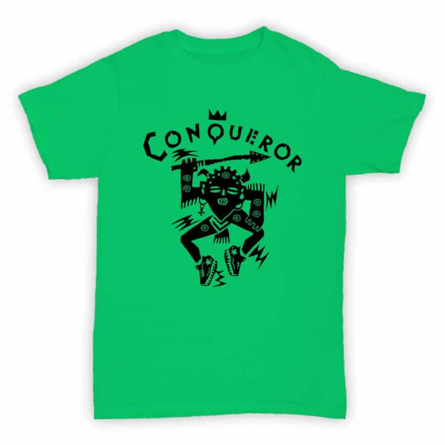 Record Label T Shirt - Conqueror Records - Jade Green With Black Logo