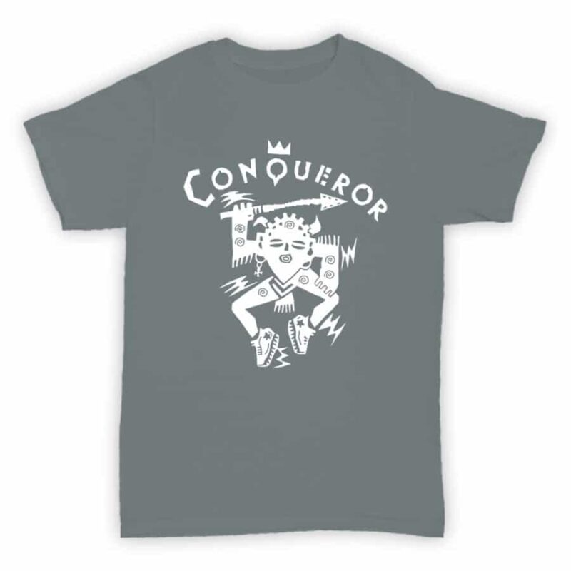 Record Label T Shirt - Conqueror Records - Sports Grey With White Logo