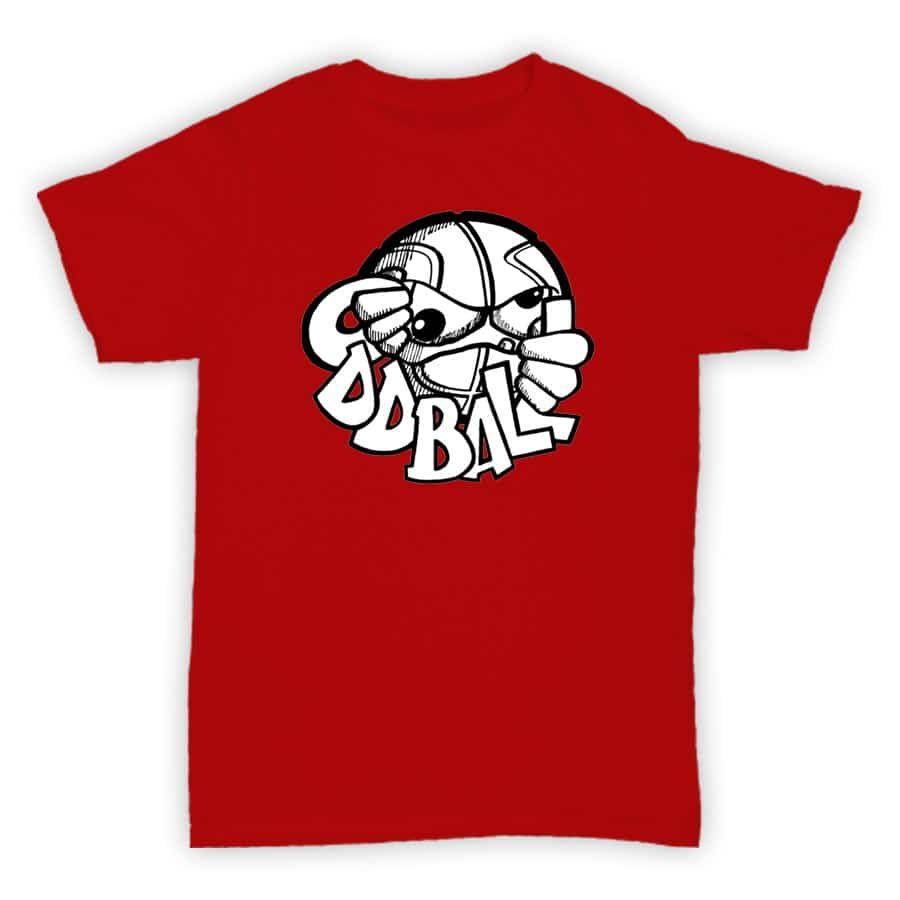 Record Label T Shirt - Oddball - Red With White Logo