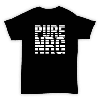 Record Label T Shirt - Pure NRG - Black With White Print Design