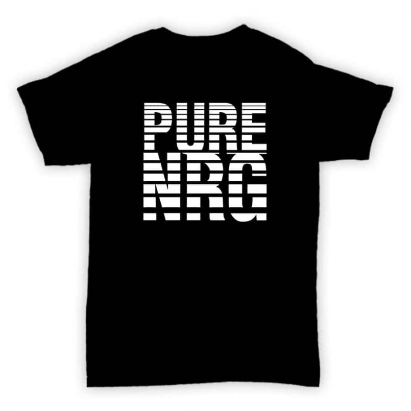 Record Label T Shirt - Pure NRG - Black With White Print Design