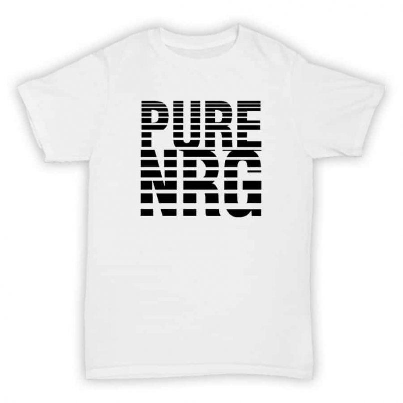 Record Label T Shirt - Pure NRG - White With Black Print Design