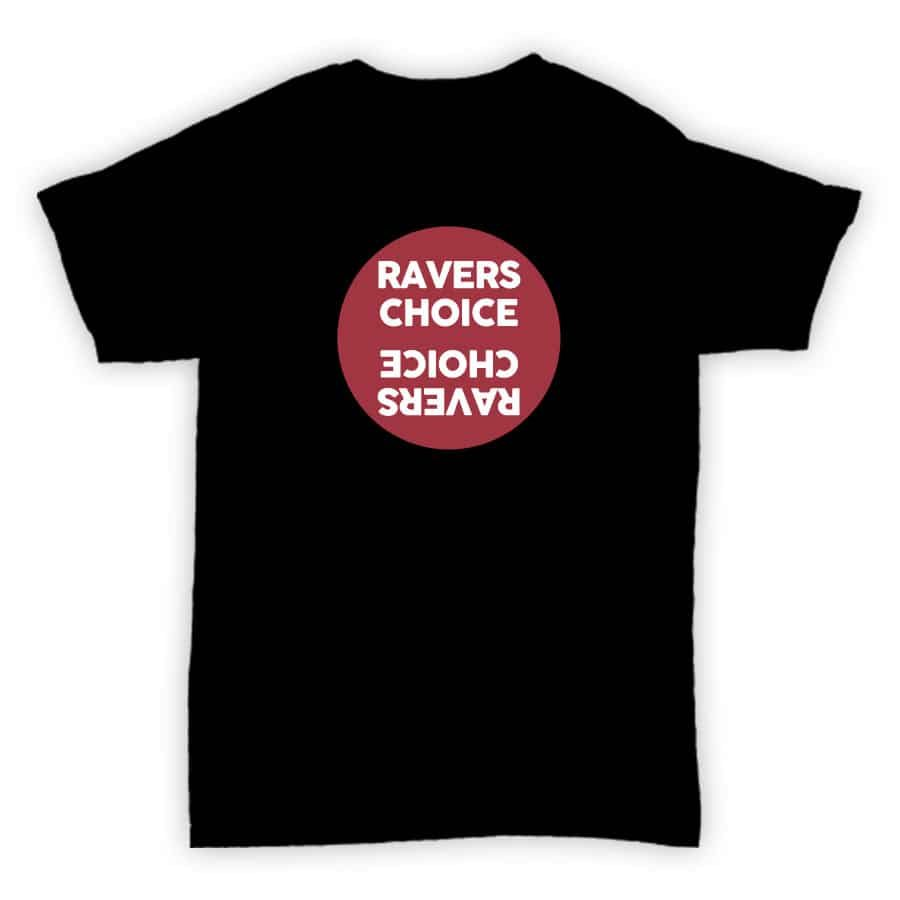 Ravers Choice - Record Label T Shirt - Black With Red Design