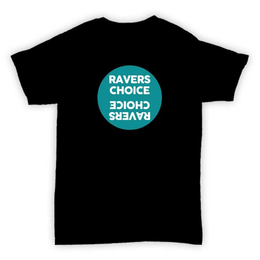 Ravers Choice - Record Label T Shirt - Black With Blue Design
